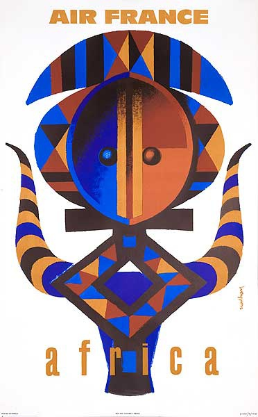Air France Africa Original Travel Poster Nathan Mask