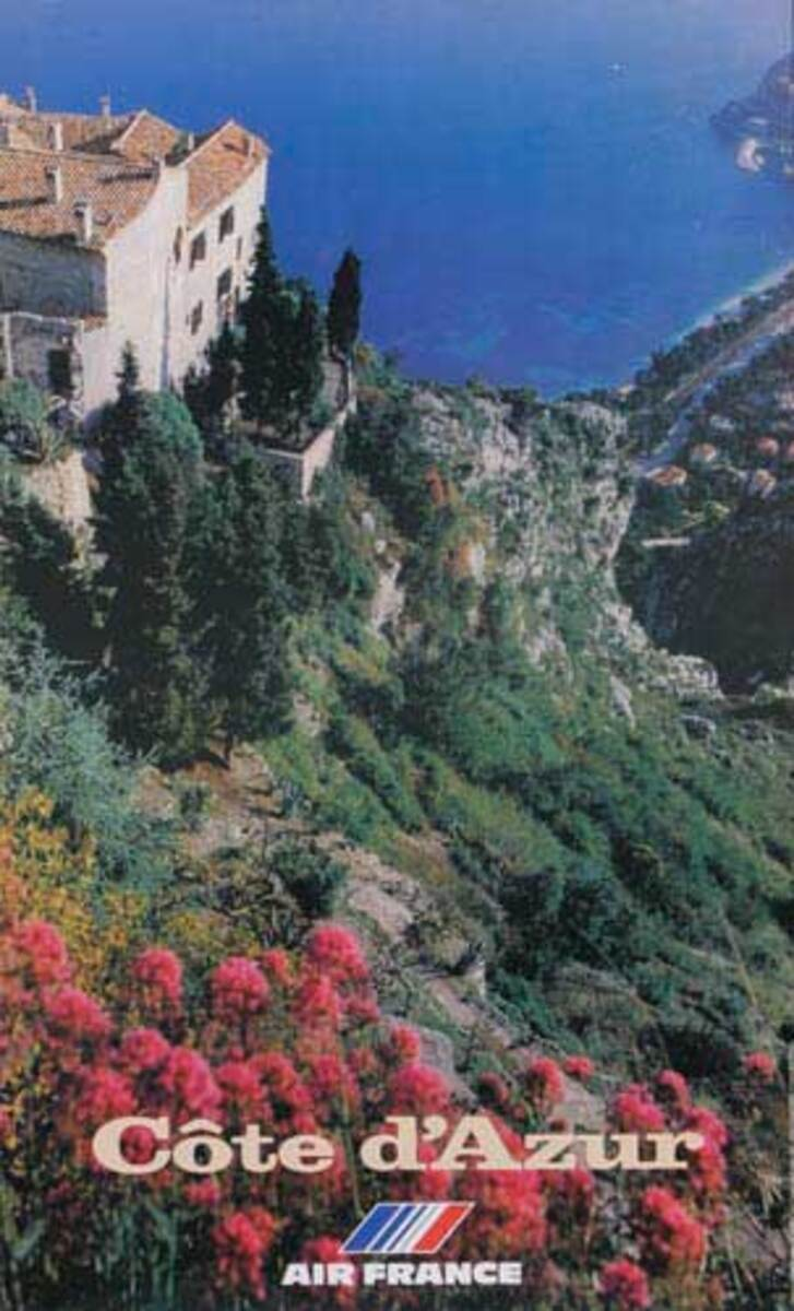 Air France Original Travel Poster Cote D'Azur photo house on cliff