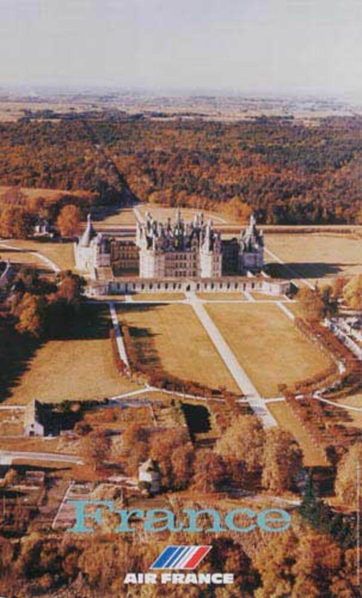 Air France Original Travel Poster Aerial View of Grand Castle