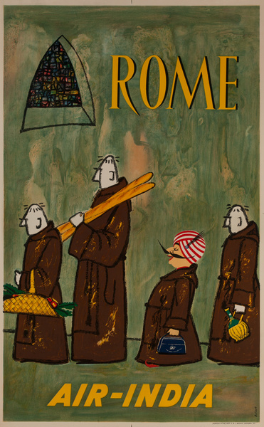 Air India Rome Original Vintage Travel Poster