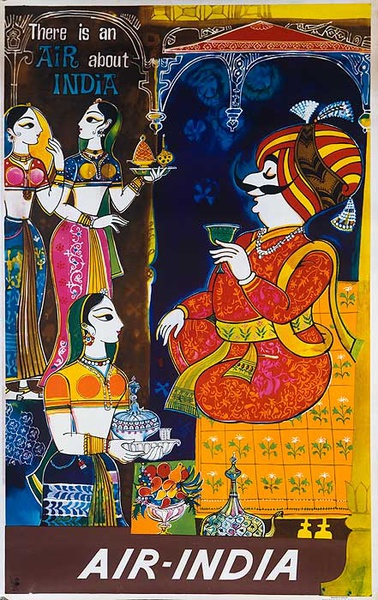 There is an Air About India Original Air India Travel Poster Mascot The Maharaja with Harem