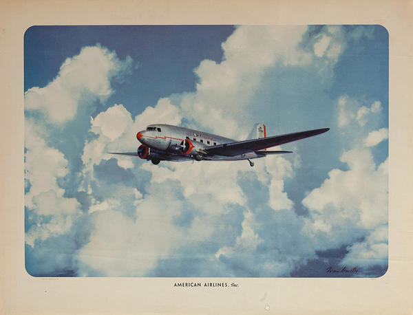 American Airlines 1941 Flying Plane Original Vintage Travel Poster