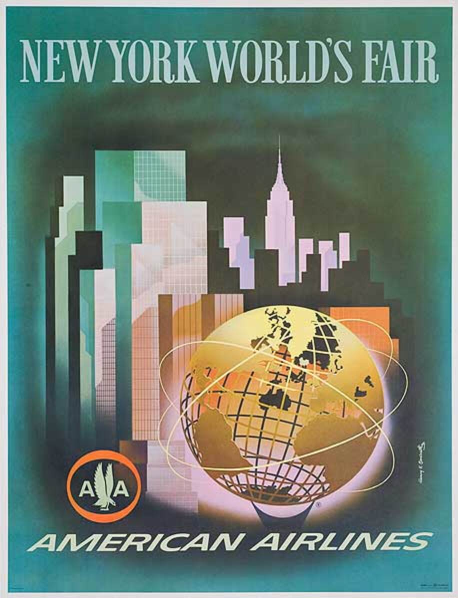 American Airlines 1964 New York World's Fair Original Travel Poster