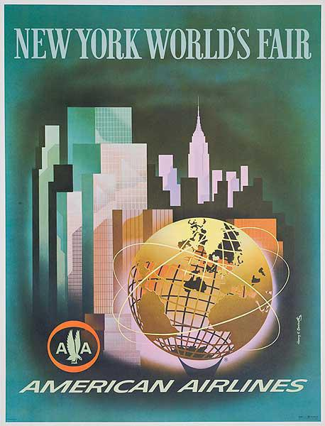 American Airlines 1964 New York World's Fair Original Travel Poster