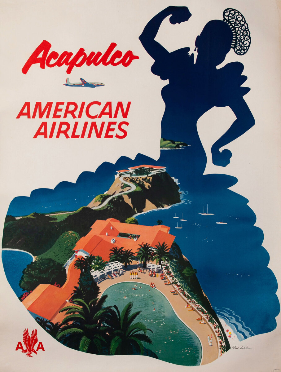 American Airlines Acapulco Silouette Original Vintage Travel Poster
