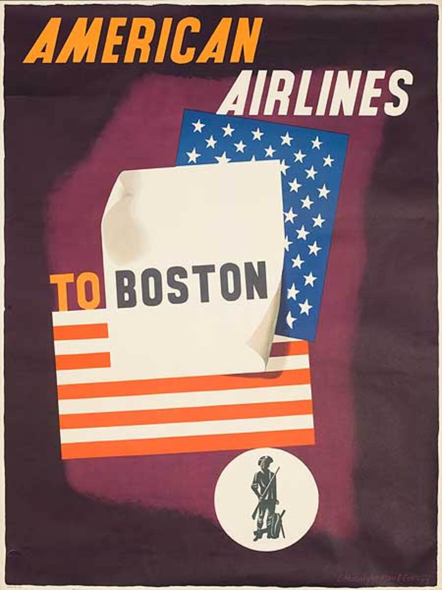 American Airlines Boston Original Vintage Travel Poster Kauffer