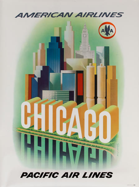 American Airlines Chicago Original Travel Poster buildings