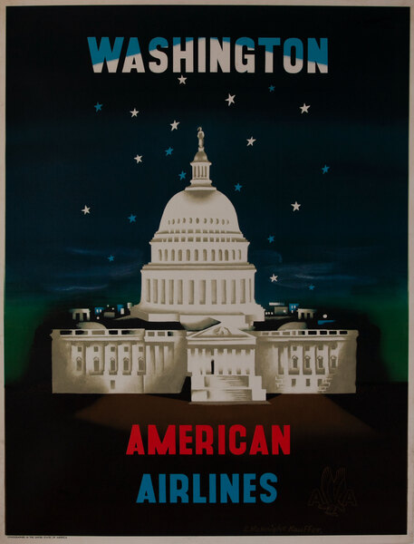 American Airlines DC Original Vintage Travel Poster Kauffer