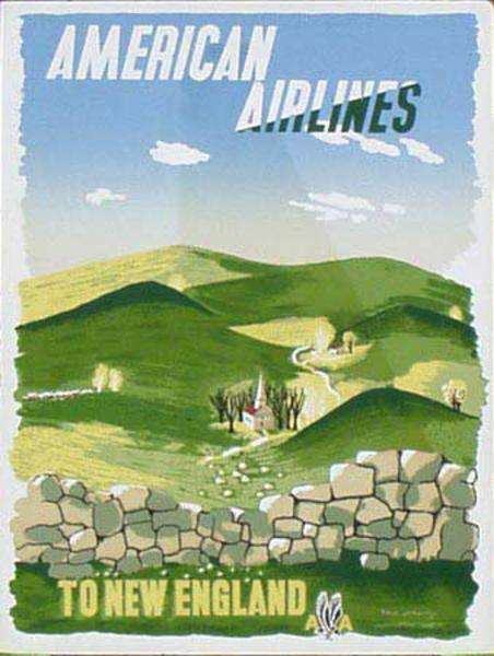 American Airlines New England McKnight Kauffer Original Vintage Advertising Travel Poster