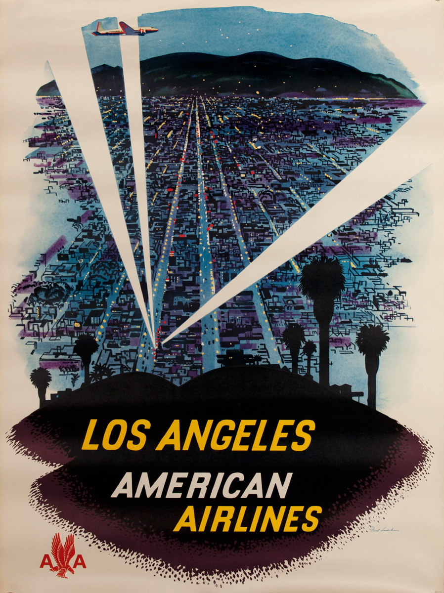 American Airlines Los Angeles  Searchlights Original Vintage Travel Poster