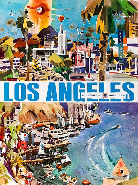 American Airlines Los Angeles Watercolor Original Vintage Travel Poster