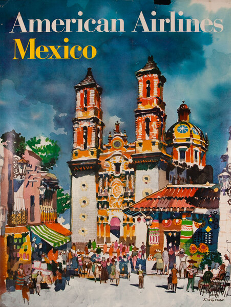 American Airlines Original Travel Poster Mexico Kingman
