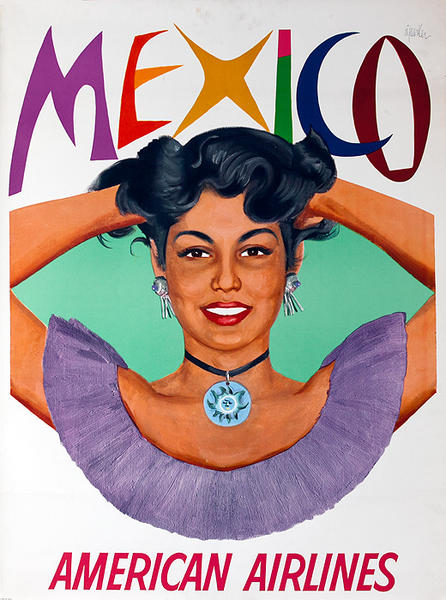 American Airlines Mexico Woman Original Vintage Travel Poster