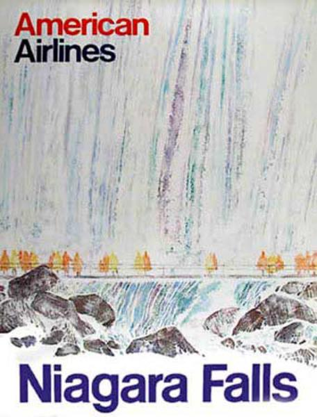 Niagara Falls American Airlines Original Vintage Travel Poster