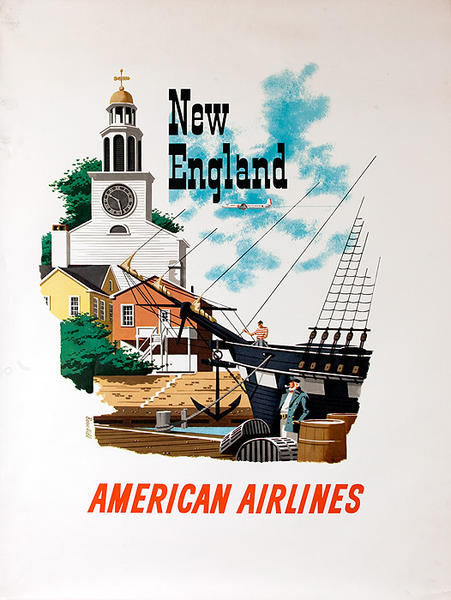 American Airlines New England Original Vintage Travel Poster