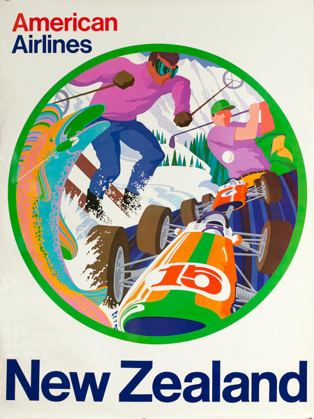 American Airlines New Zealand Ski Golf Original Vintage Travel Poster