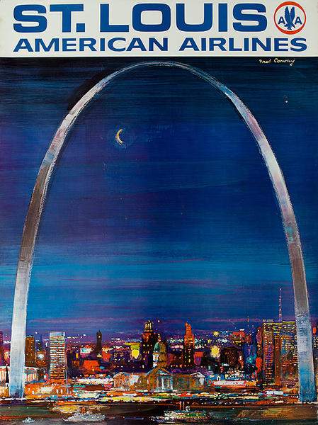 American Airlines Original Travel Poster St Louis Conway