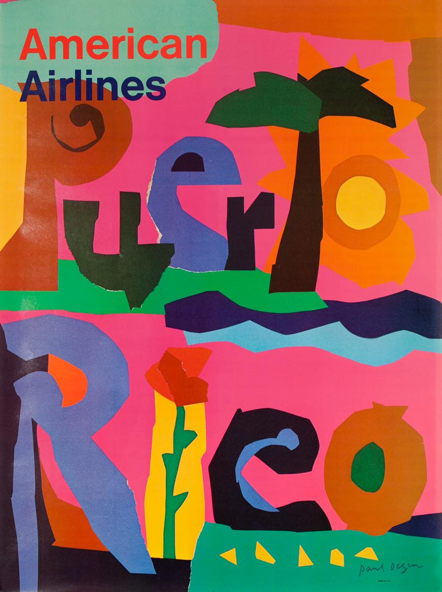 American Airlines Original Vintage Travel Poster Puerto Rico