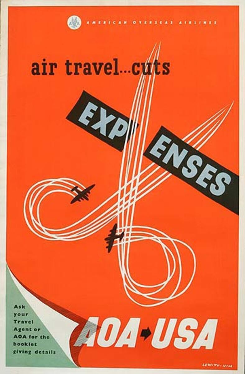 American Overseas Airlines Original Travel Poster AOA Air Travel Cuts Expenses