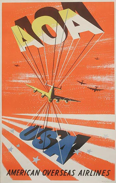 American Overseas Airlines Original Travel Poster AOA USA red background