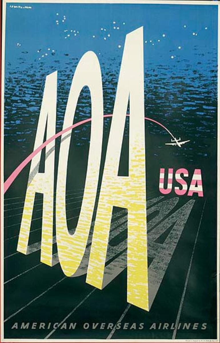 American Overseas Airlines Original Travel Poster AOA USA, night