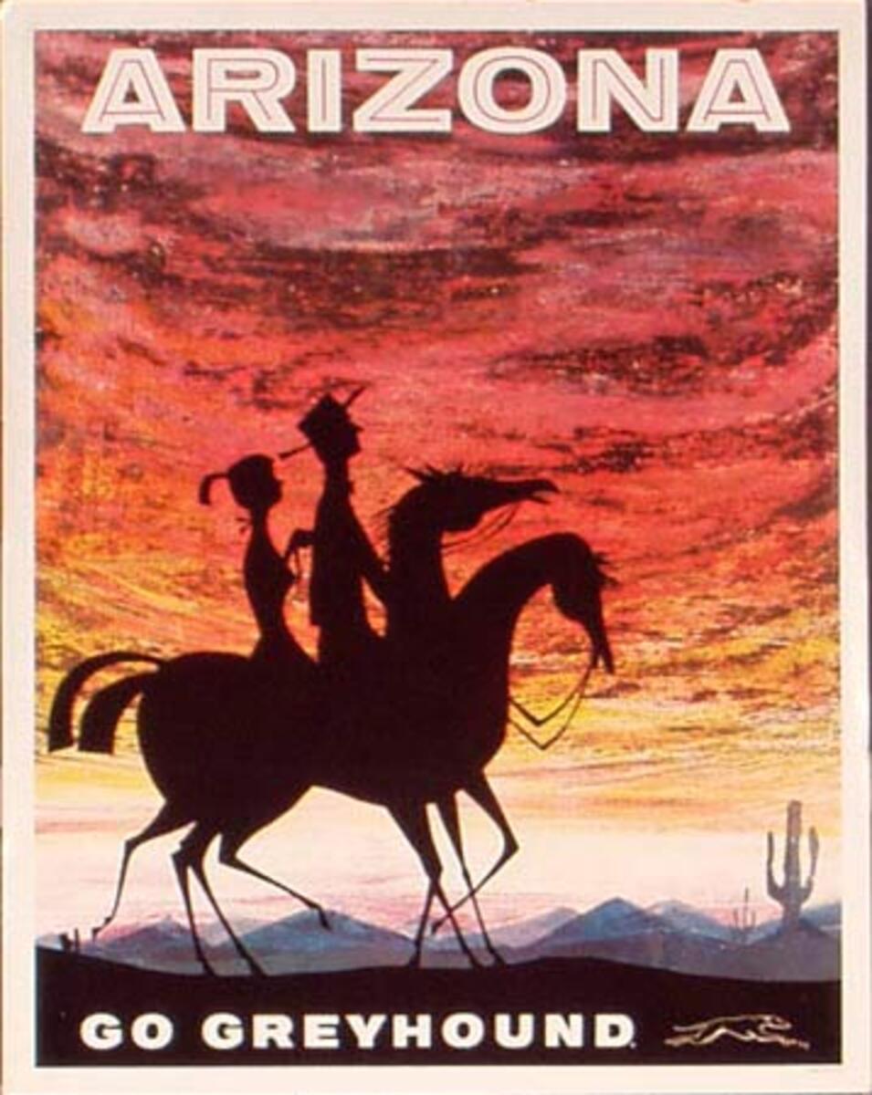 Greyhound Bus Lines Original Vintage Travel Poster Arizona