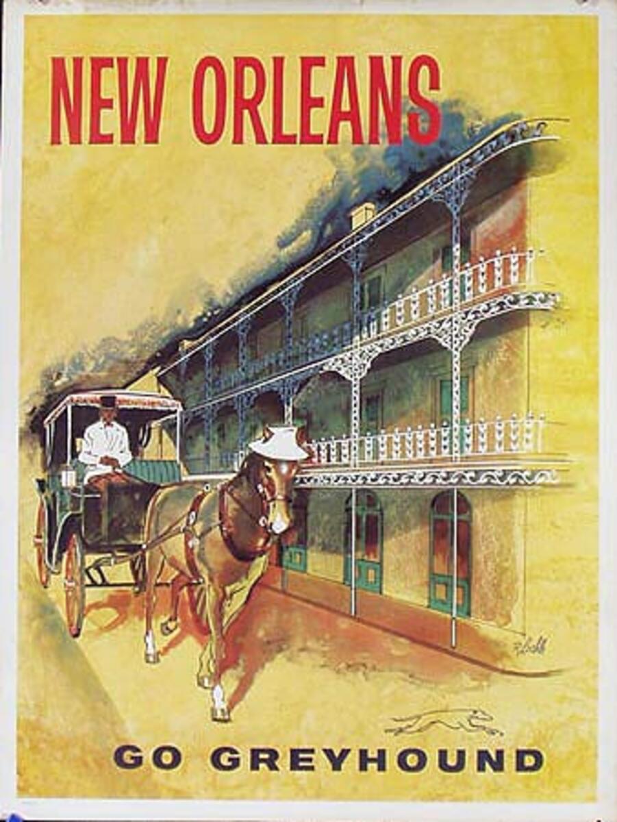 Greyhound Bus New Orleans Original Vintage Travel Poster