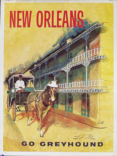 Greyhound Bus New Orleans Original Vintage Travel Poster
