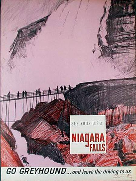 Greyhound Bus Original Vintage Travel Poster Niagara Falls