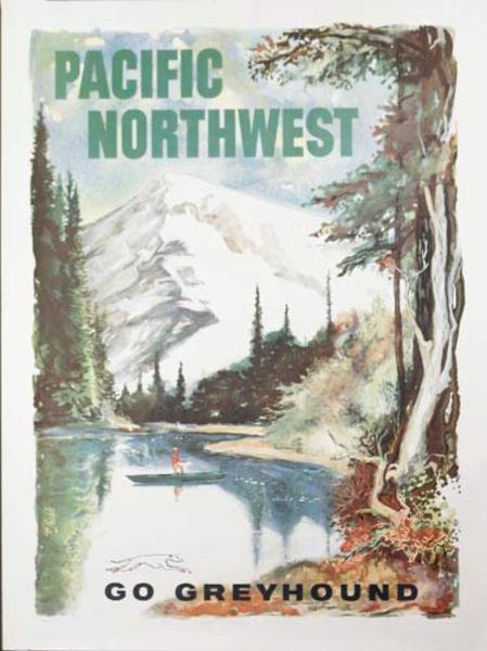 Pacific Northwest Greyhound Bus Lines Original Travel Poster