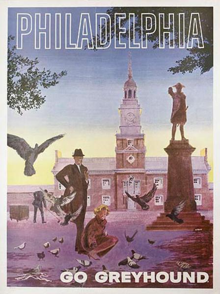 Philadelphia Greyhound Bus Lines Original Travel Poster
