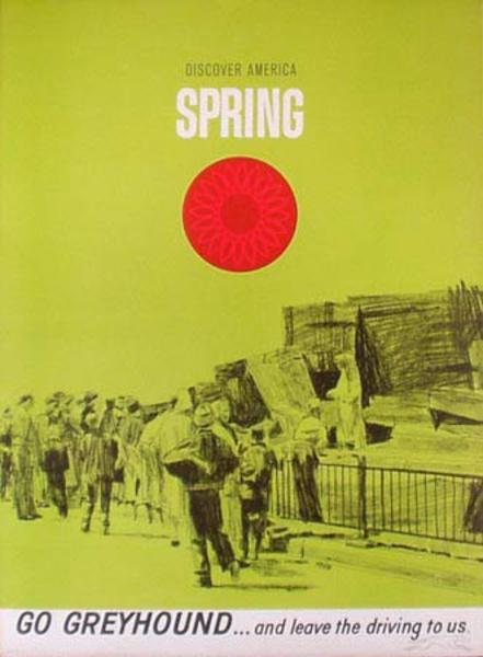 Greyhound Bus Original Vintage Travel Poster Spring