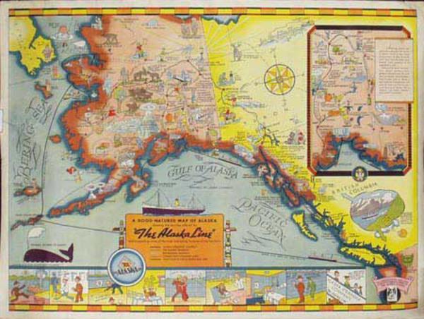 Alaska Lines Cruise Lines Original Vintage Poster Map