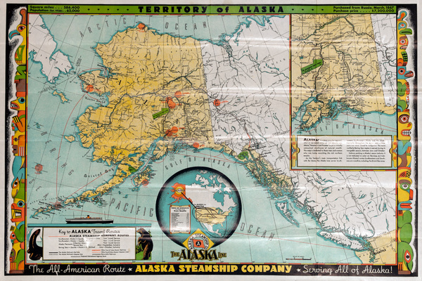 Alaska Steamship Company Original Vintage Cruise Line Travel Poster Map