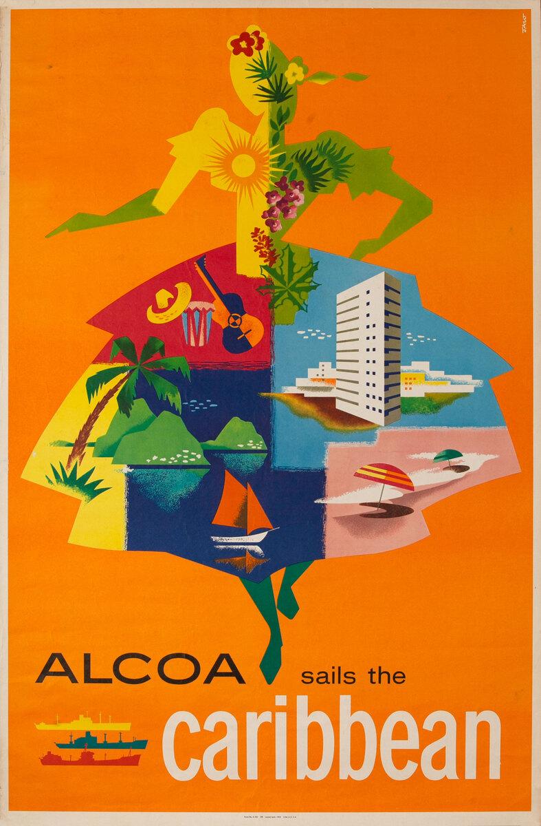 Alcoa Lines Caribean Cruise Original Vintage Travel  Poster