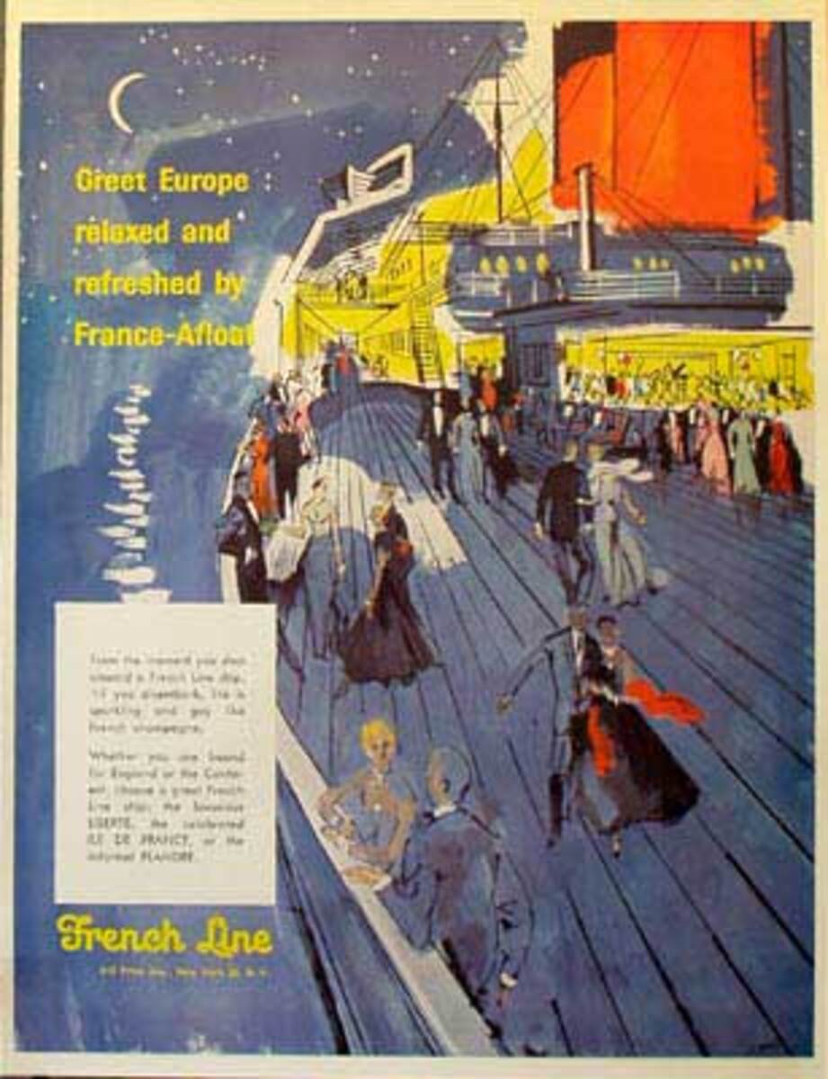 French Lines Original Vintage Travel Poster Great Europe by France Afloat