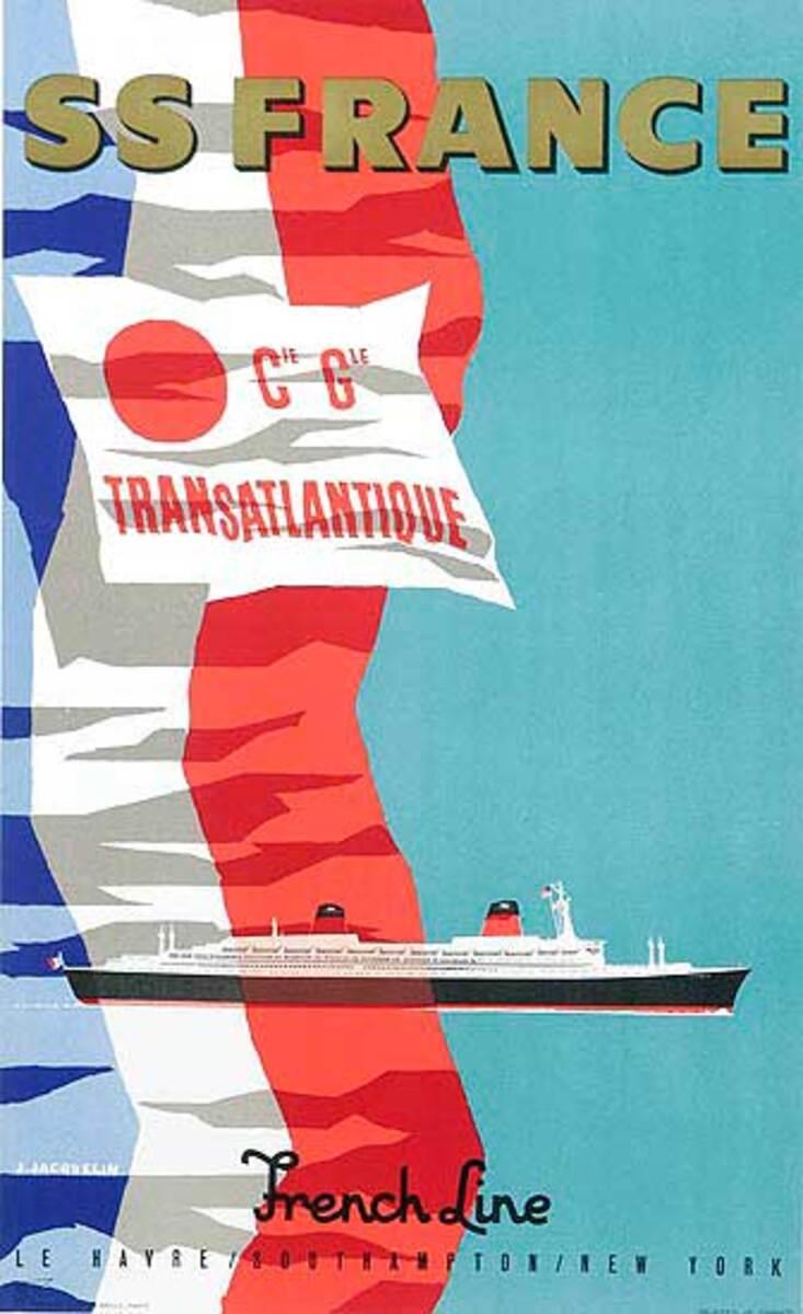 SS France Original Vintage Travel Poster
