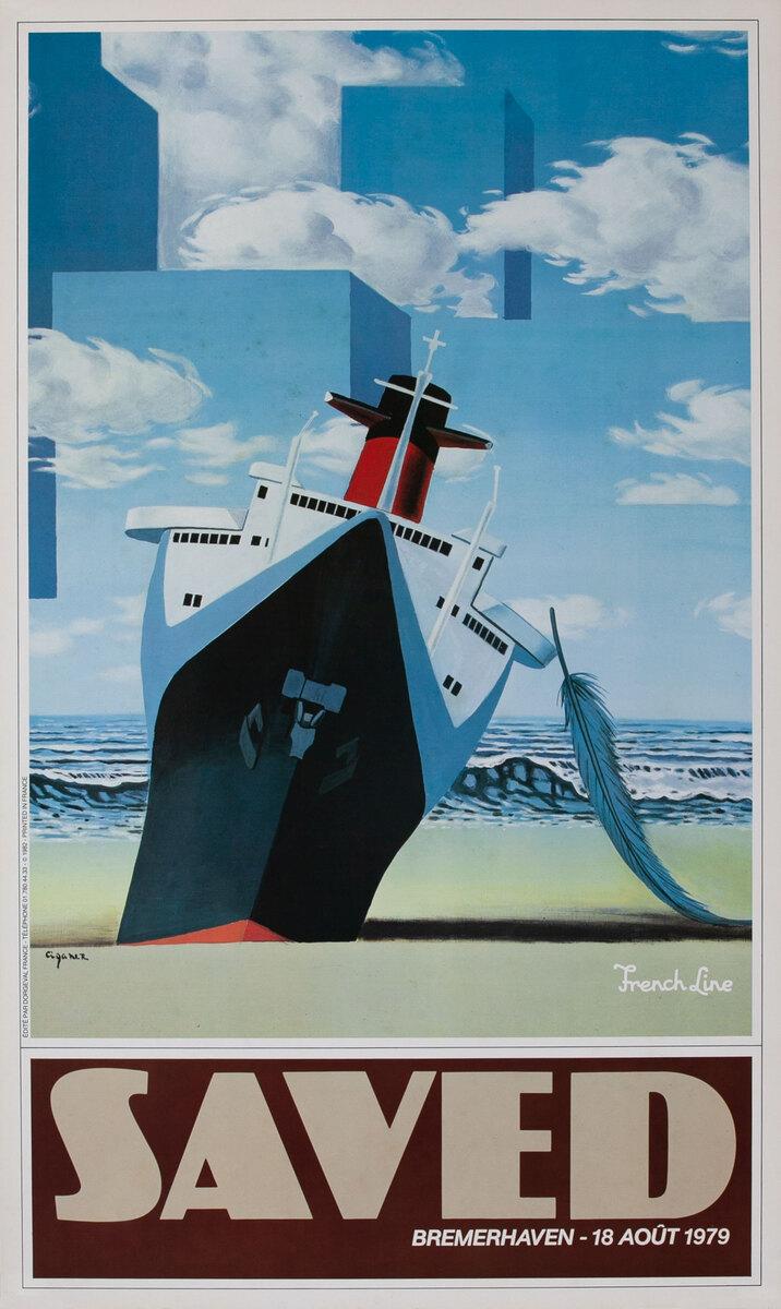 French Lines Saved Original Vintage Travel Poster