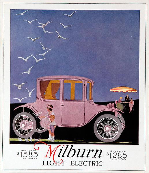 Original Vintage Milburn Electric Car Advertising Poster pink