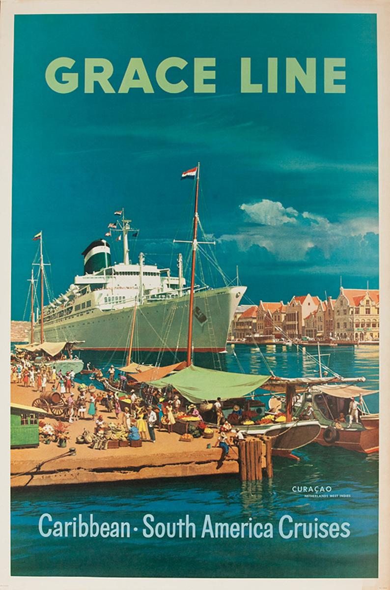 Grace Lines Curacao Original Vintage Travel Poster