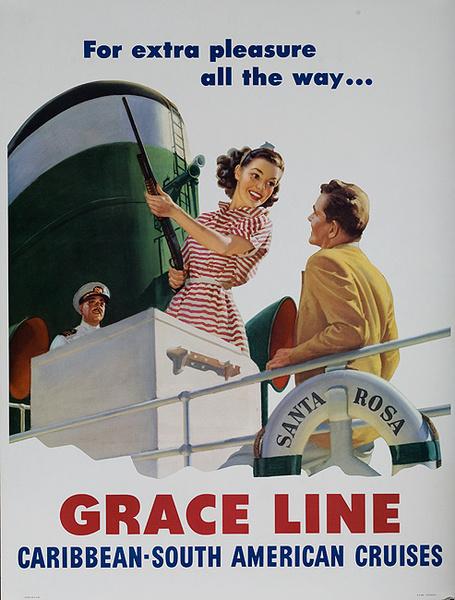 Grace Lines Shotgun Original Vintage Travel Poster