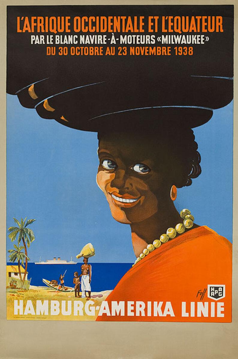 Hamburg-Amerika Line L'Afrique Occidental Et L'Equateur Original Travel Poster