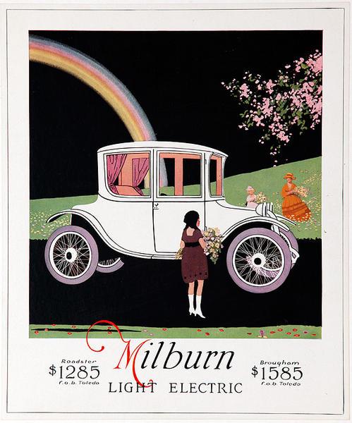 Original Vintage Milburn Electric Car Advertising Poster white