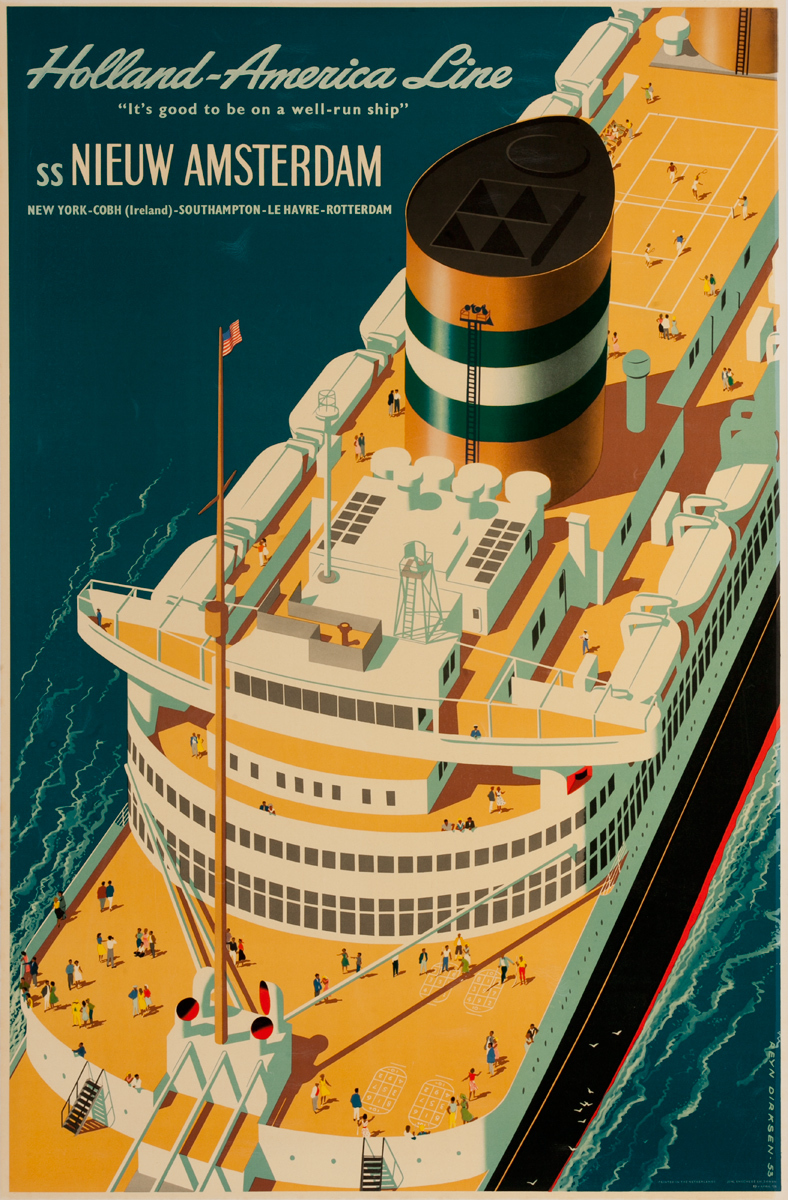Holland America Line, SS Nieuw Amsterdam Original Cruise Ship Travel Poster