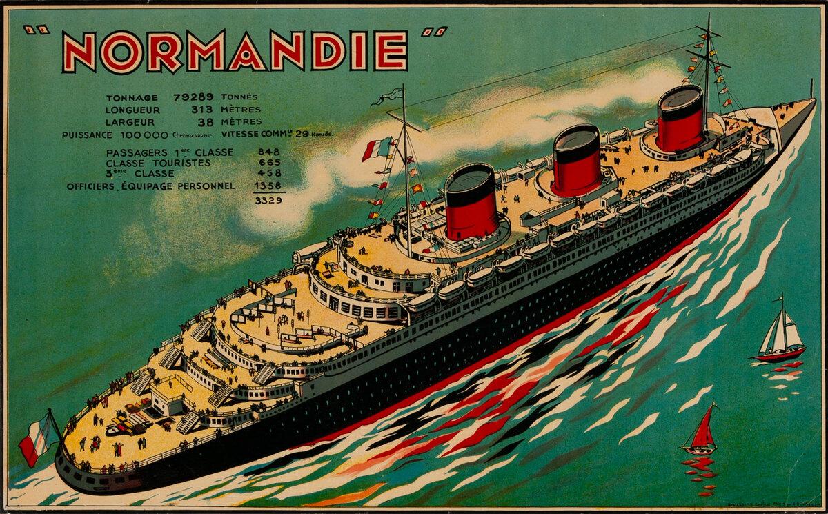 Normadie Cruise Ship Original Advertising Poster Print