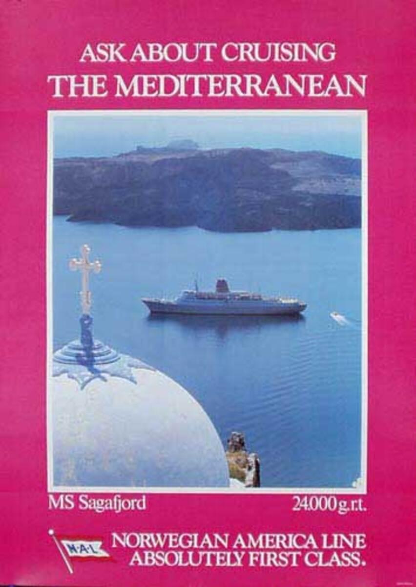 Sagafjord Cruise Ship Original Travel Poster Mediteranian Cruise