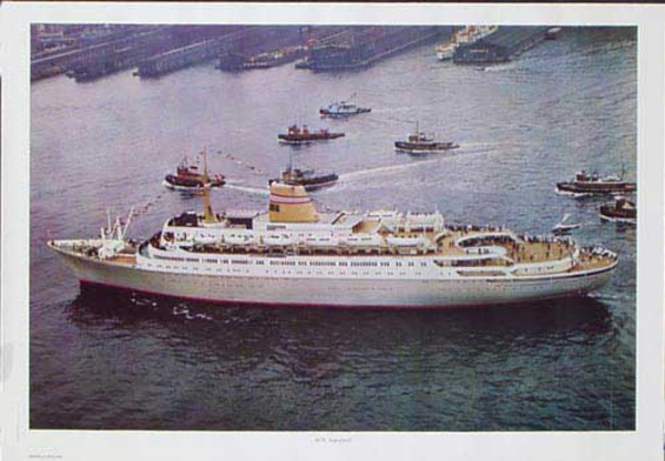 Sagafjord Cruise Ship Original Travel Poster Aerial view