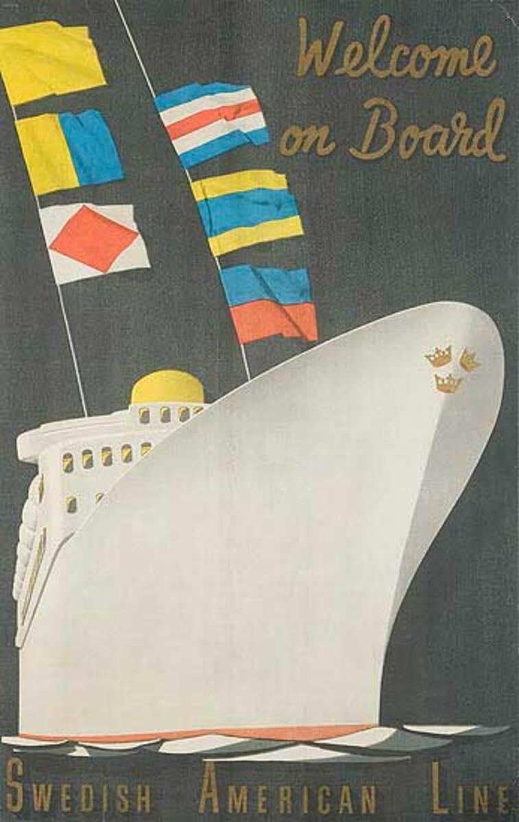 Swedish American Line Welcome Original Cruise Travel Poster