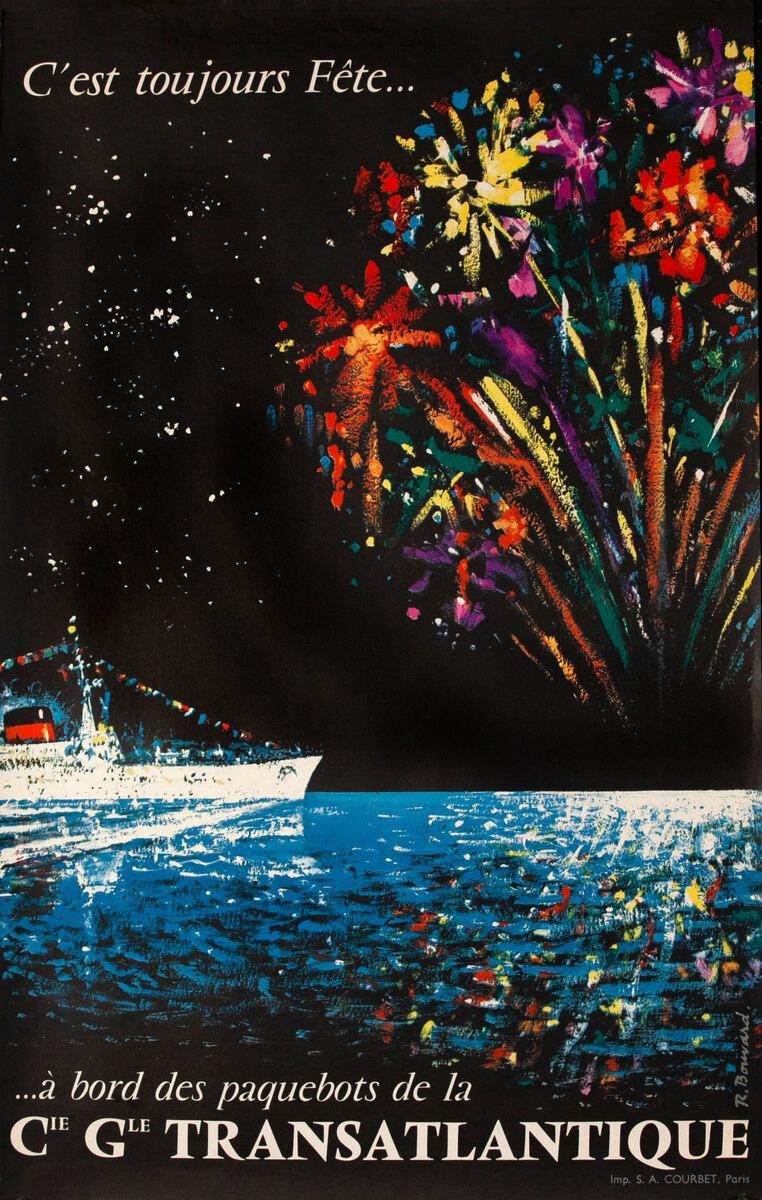 C G Transatlantique Fireworks Original Vintage Travel Poster