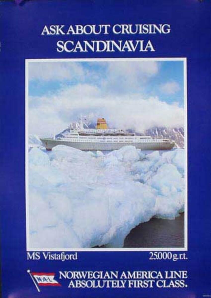 Vistafjord Cruise Ship Original Travel Poster Scandinavian Cruise